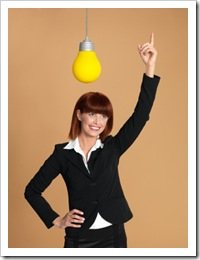 attractive, young businesswoman, light bulb, having idea