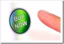 "Finger pressing green ""BUY NOW"" button on white touchscreen"