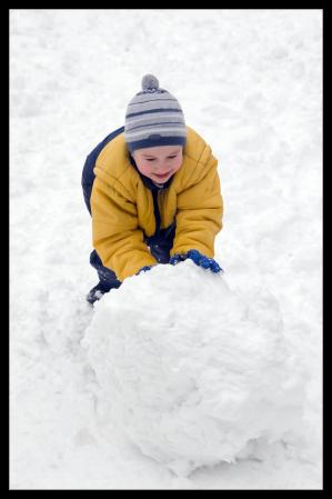 The boy rolls snow whom