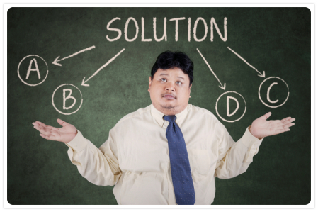 Businessman doubt to choose a solution 1